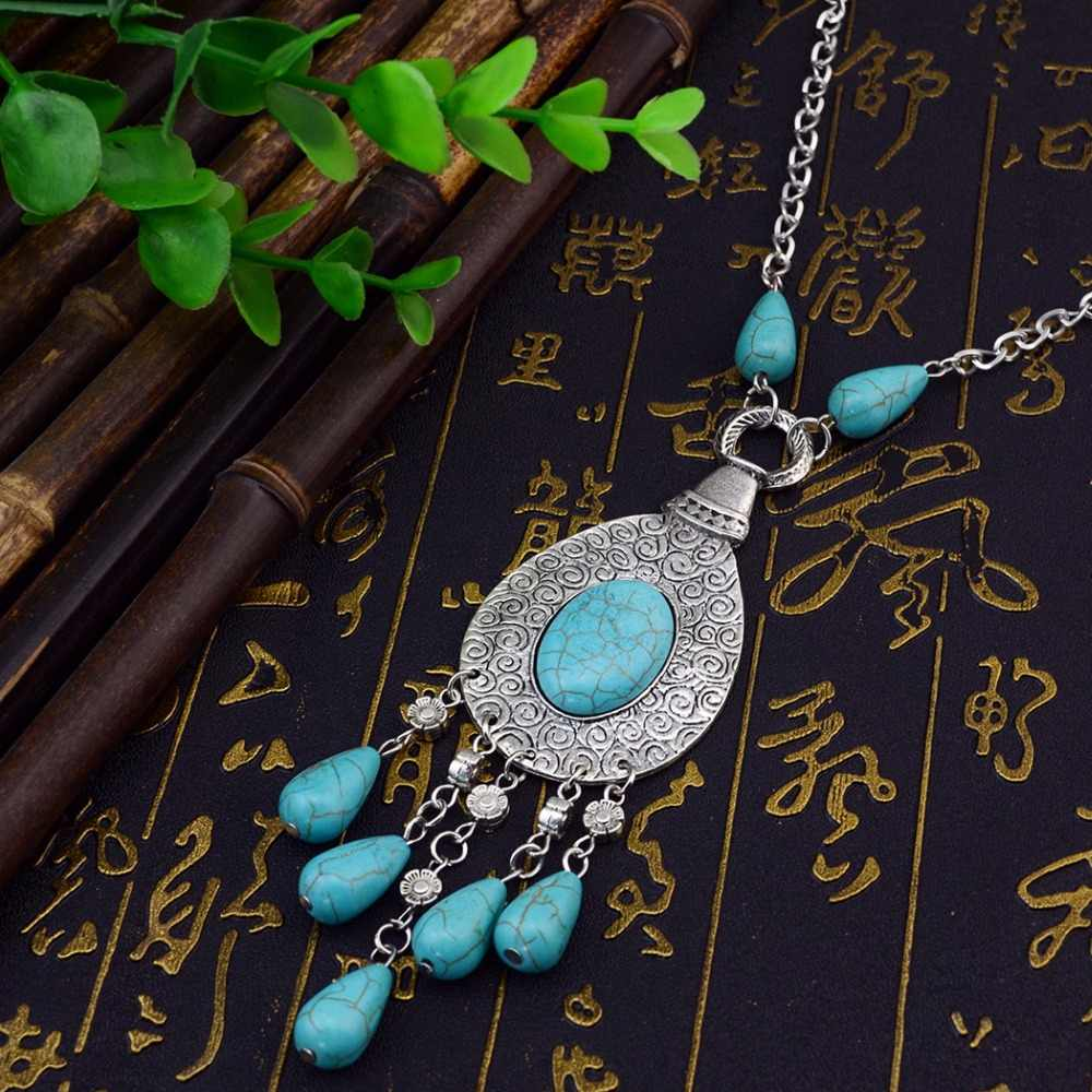 הצועני Vintage טיבטי כסף מתכת מים זרוק כחול אבן ארוך הצהרת שרשראות & עגילי נשים Boho הודי תכשיטי סטים