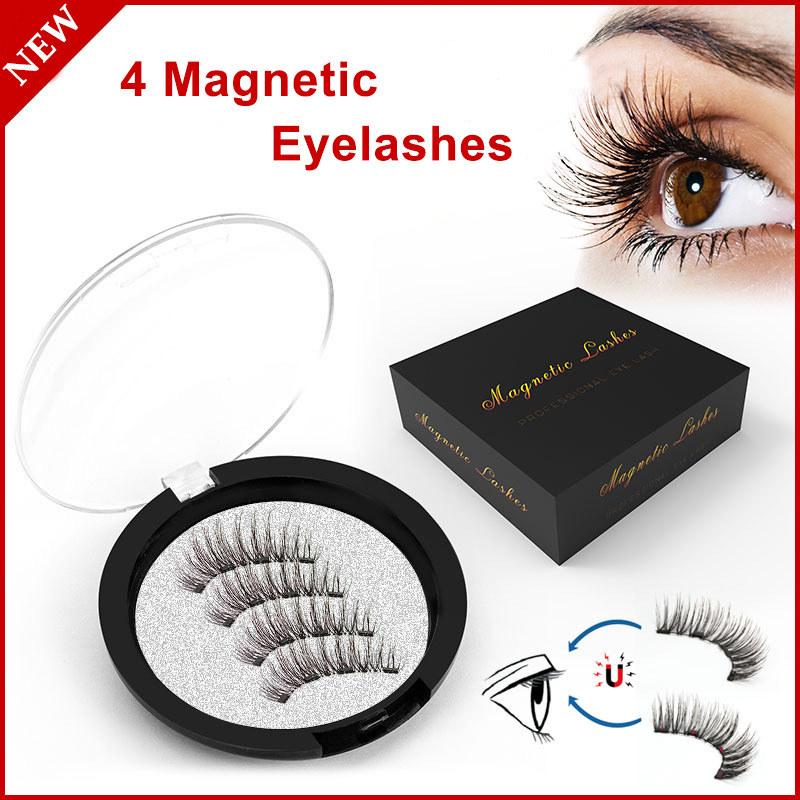 Natural <font><b>4</b></font> <font><b>Magnets</b></font> <font><b>Magnetic</b></font> <font><b>Eyelashes</b></font> Lashes Extension Reusable Handmade No Glue <font><b>Magnetic</b></font> Fake <font><b>Eyelashes</b></font> <font><b>With</b></font> <font><b>Eyelash</b></font> Applicator image
