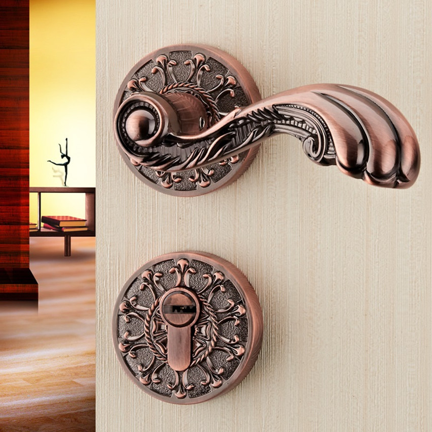 High-end European-style red bronze interior door lock handle 72 European-style dual-tongue lock retro bedroom wooden door locks high quality 3pcs door lever handle locks set interior entry door lock living room bedroom bathroom mortise handle lock