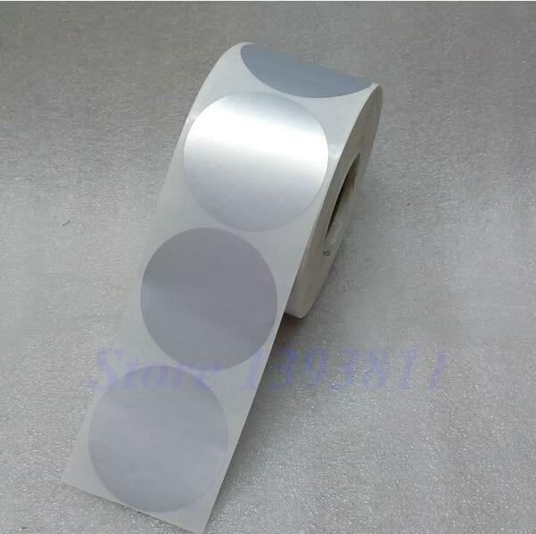 round label sticker 55 55mm diameter 5 5 cm matte silver sticker waterproof tearproof oilproof. Black Bedroom Furniture Sets. Home Design Ideas