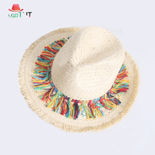 2019 Female Beach Hats Women Color Tassel Summer Straw Hat Outdoor Sun for