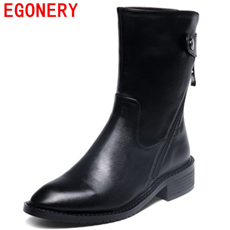 EGONERY mid-calf boots lengthen the leg line adding to the gas field 2017 new arrival concise modern genuine leather women boots adding value to grains