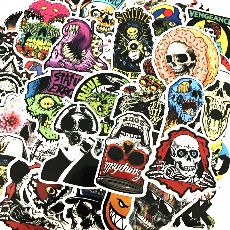 50 Pcs Mixed Horror Stickers For Luggage Laptop Skateboard Bicycle Motorcycle Car Styling Decals PVC Cool Waterproof Sticker Toy