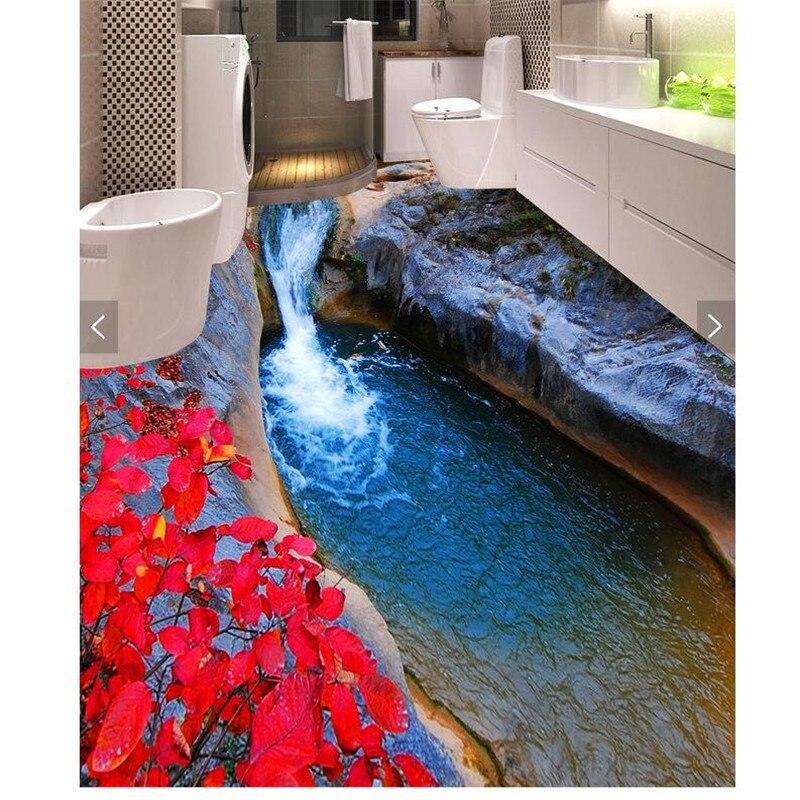Modern floor painting hd lake water cave waterproof - Waterproof floor paint for bathrooms ...