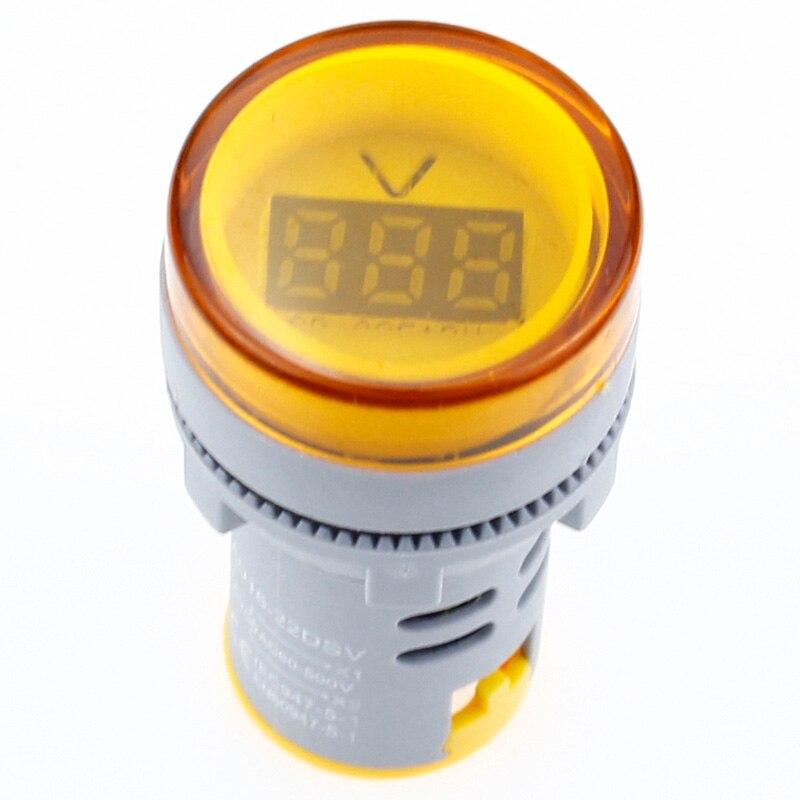 22mm LED Digital Display Gauge Volt Voltage Meter Indicator Signal Lamp Voltmeter Lights Tester Combo Measuring Range 60-500V AC