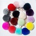 15 Colores 8 CM de Piel de Conejo Llavero de Coche para el Teléfono Celular colgante Bola Redonda del anillo dominante Del Encanto Del Bolso Llavero Pompón De Piel llaveros