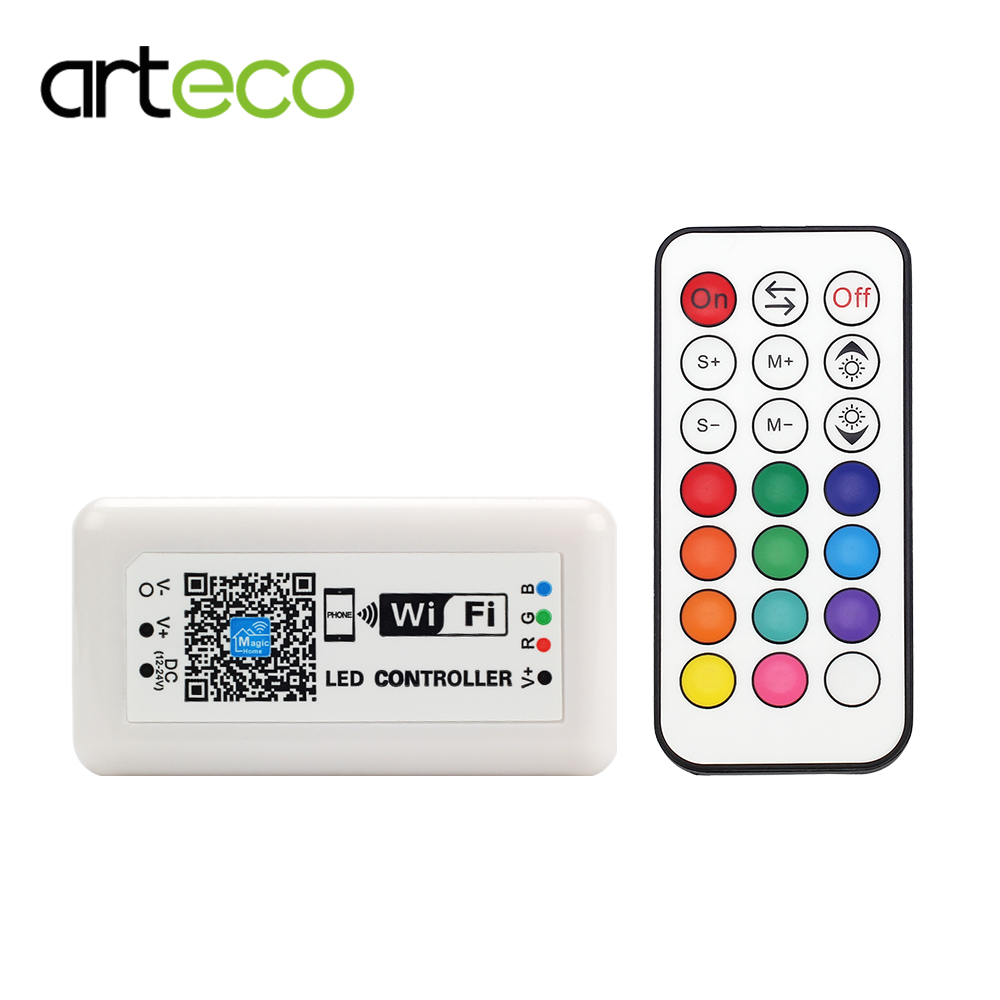 DC12-24V 12A LED RGB Controller & MINI WIFI 21 KEY LED Controller Smart RGB Dimmer IOS Android Phone APP Wireless Remote Control image