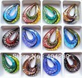 Wholesale 12pcs Water Drop Lampwork Glass Murano Pendant Necklace,GP4