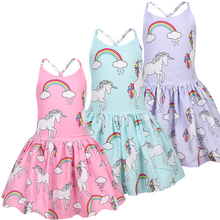 2019 Baby Girls Sleeveless Unicorn Costume Kids Children Party Dresses Clothes Princess Dress Vestido Kids Dresses for Girls стоимость