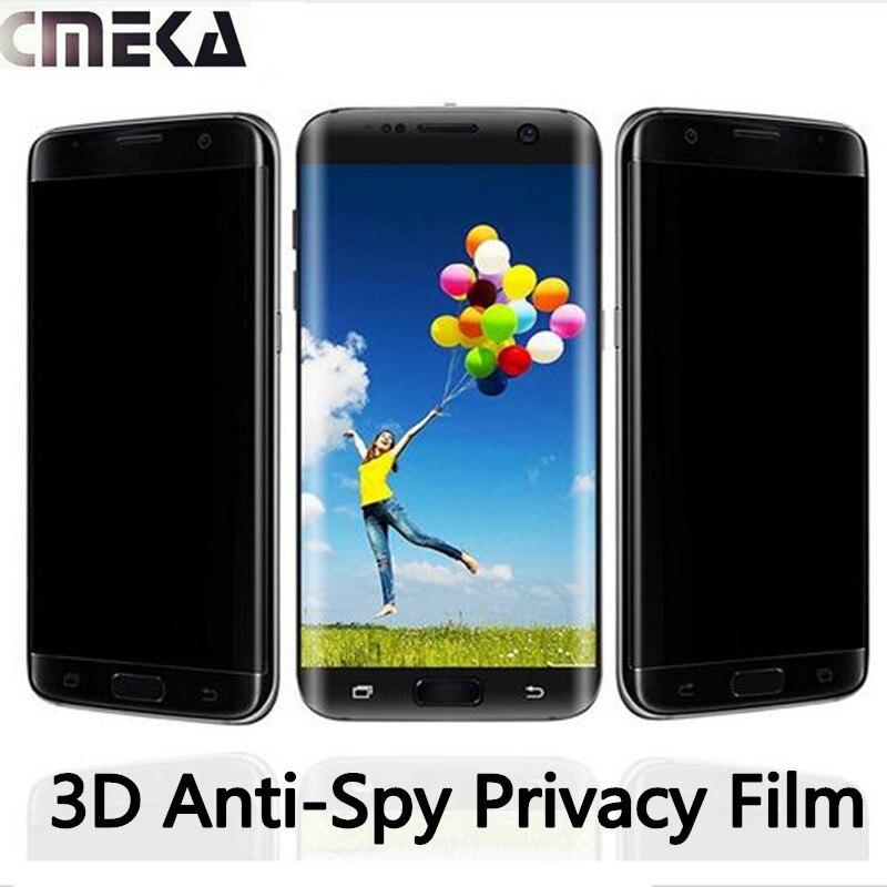imágenes para Cmeka 3D 9 H Vidrio Templado Privacidad Anti-Espía de Cobertura Total Para Samsung Galaxy S6 S6 S7Edge Borde Curvo de Cristal Templado Redondo Borde +