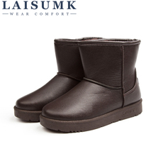 LAISUMK New Women Leather Boots Winter Warm Snow Boots Womens Sleeve Ankle Shoes Ladies Snow Boots Winter Wear Resistant Shoes цена
