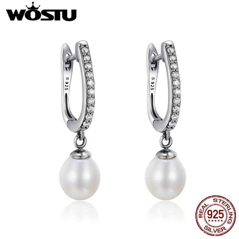 WOSTU 100% Pure 925 Sterling Silver Graceful Freshwater Pearl, Clear CZ Drop Earrings For Women Jewelry Brincos Gift CQE194 pair of graceful rhinestone faux pearl embellished earrings for women