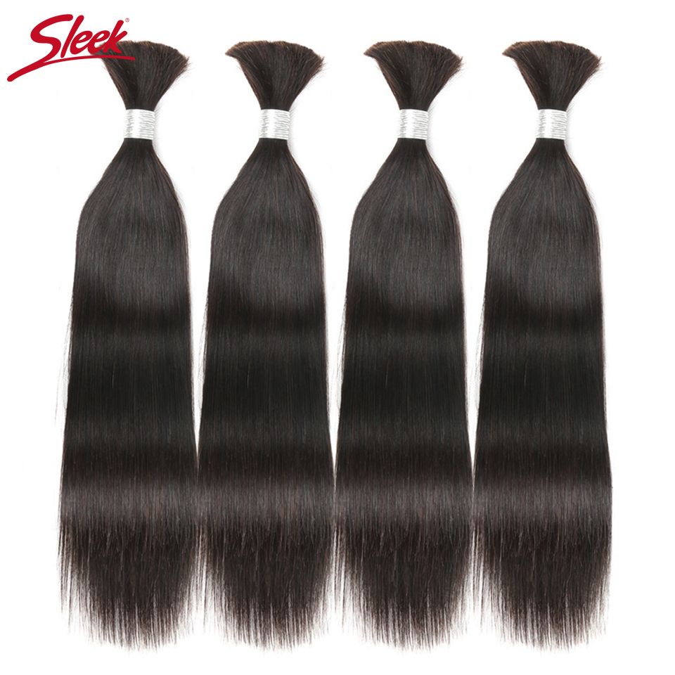 Sleek Hair Pre-Colored Remy Brazilian Straight Human Hair Bulk For Braiding Free Shipping 4 Bundles Human Hair Crochet Weave