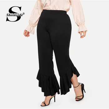 Sheinside Plus Size Black Ruffle Hem Flare Leg Pants Women 2019 Spring Solid High Waist Pants Ladies Elastic Waist Crop Trousers
