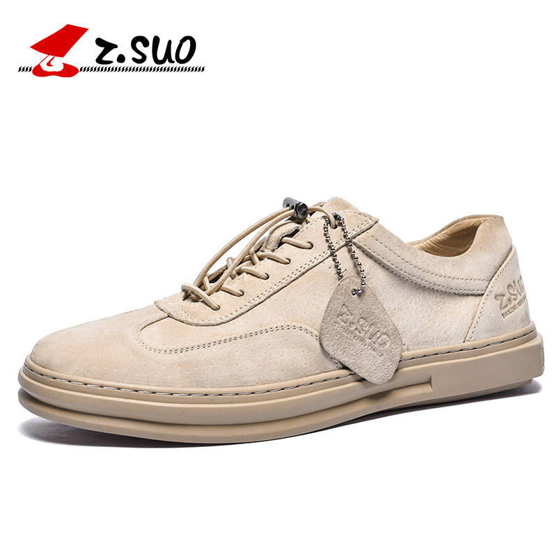 Z SUO Brand ZS758 Fashion Low Top Lace Up Handmade Soft Breathable Pigskin Non Slip Rubber