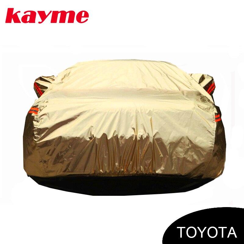 цена на Kayme aluminium Waterproof car covers super sun protection car cover for toyota corolla rav4 auris yaris camry Land Cruiser