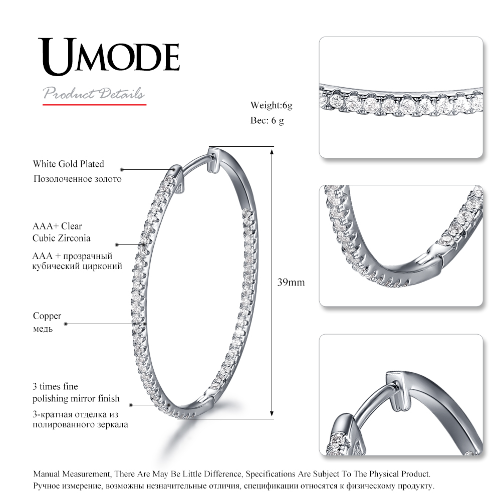 UMODE CZ White Gold Color Hoop Earrings for Women Tiny Paved CZ Crystal Pendientes Mujer Moda 2018 New Fashion Bijoux AUE0357 in Hoop Earrings from Jewelry Accessories
