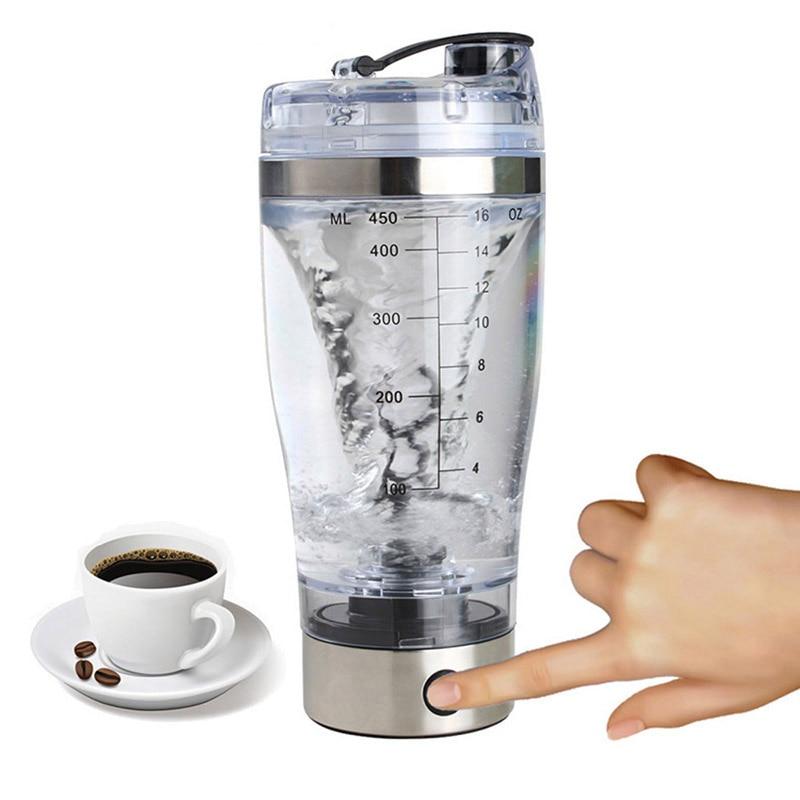 Mini USB 450ml Electric Automatic Protein Shaker Portable Movement Mixing Mixer Vortex Tornado BPA Free My Water Bottle