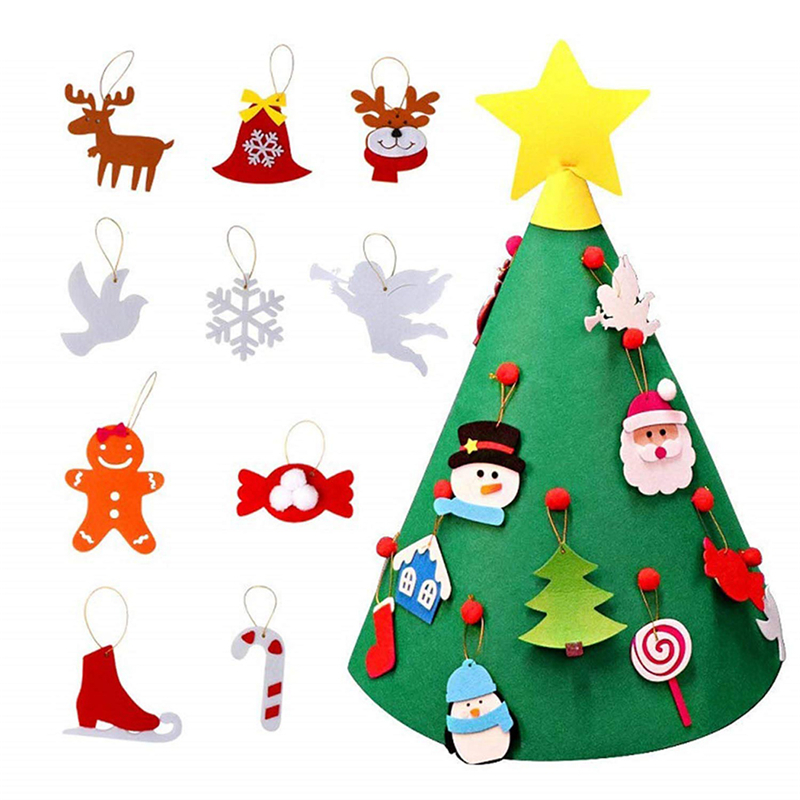 Kids DIY Felt Christmas Tree with Ornaments New Year Kids ...