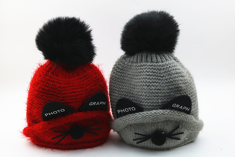 10pcs/lot 0179-wu-MT7925 winter warm character cat ear  kids hat children Skullies & Beanies leisure cap wholesale авто бустер детский nania topo eco rock grey от 15 до 36 кг 2 3 серый черный 227950