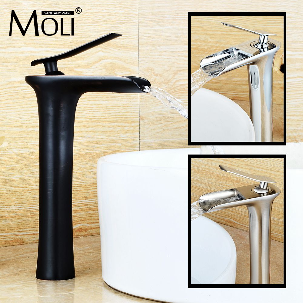 New arrival 3 type bathroom tall faucet soild brass brushed nickel vessel sink tap chrome finish waterfall mixer