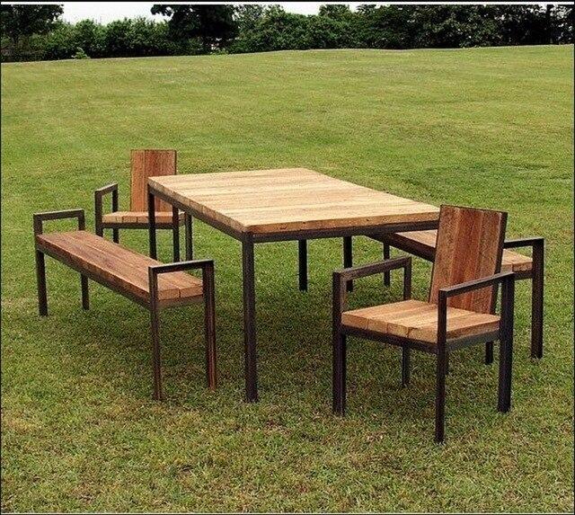 Nordic americana país retro mesas y sillas de madera outdoor park ...