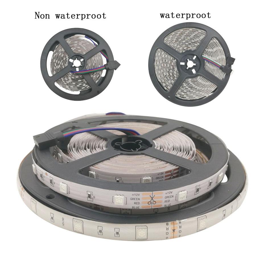 12V LED Strip 5M 5050 RGB Tape Non Waterproof  10M LED Light Ribbon Flexible RGB diode LED Lamp tape Remote Control+Power supply