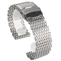 High Quality 18mm 20 Mm 22mm 24mm Width Mesh Stainless Steel Watch Strap Fold Over Clasp