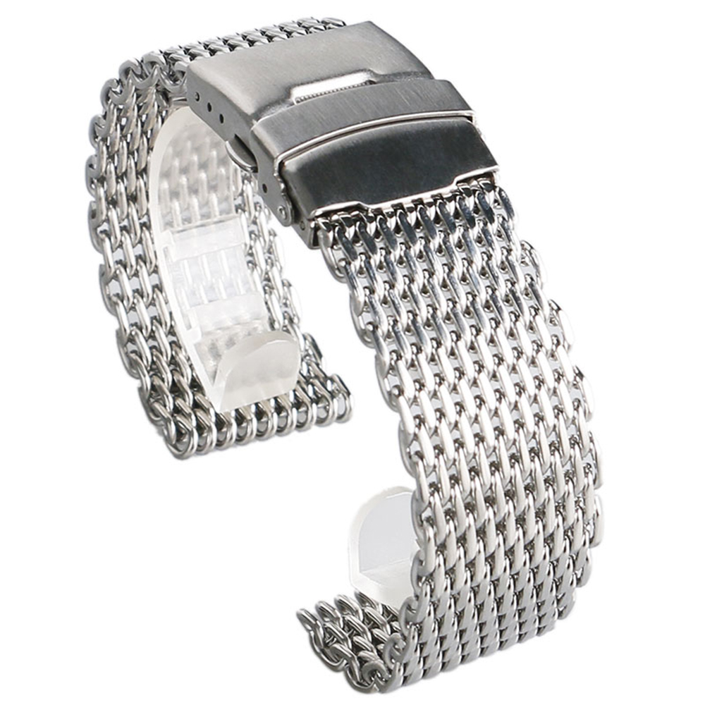 High Quality 18mm/20 mm/22mm/24mm Fashion Silver Mesh Stainless Steel Watch Strap Fold Over Clasp With Safety With 2 Spring Bars 22mm silver replacement folding clasp with safety shark mesh men watch band strap stainless steel 2 spring bars high quality
