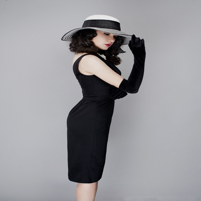 d23c41623f US $51.27 28% OFF|Audrey Hepburn Dress Retro Little Black V back Dress  Women Bodycon Pencil Dress Vintage -in Dresses from Women's Clothing on ...