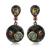 DC1989 Envío Libre 2016 de La Vendimia de Disco Redondo gota de oro Negro Fucsia Cubic Zirconia pendientes de Gota para las mujeres (E027)