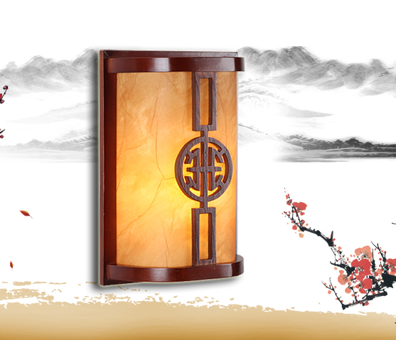 Chineses red wood frame wall lamps Modern carved design yellow parchment E27 LED lamp for bedroom&porch&stairs&studio QLBD006