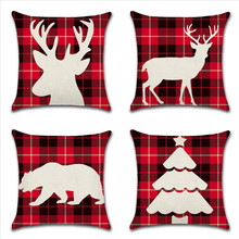 Animal Elk Bear Tree Pattern Christmas Pillow Case Red Grid Pillows Cover For Home Bedroom Office Seat  Pillowcase 45x45cm