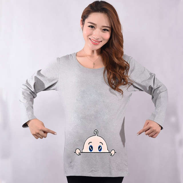 dd4e5c56095a7 Maternity Funny Baby Peeking Out Shirts Autumn Hot Red Long Sleeve Tops  Tees Clothes For Pregnant Women Pregnancy Wear Clothing
