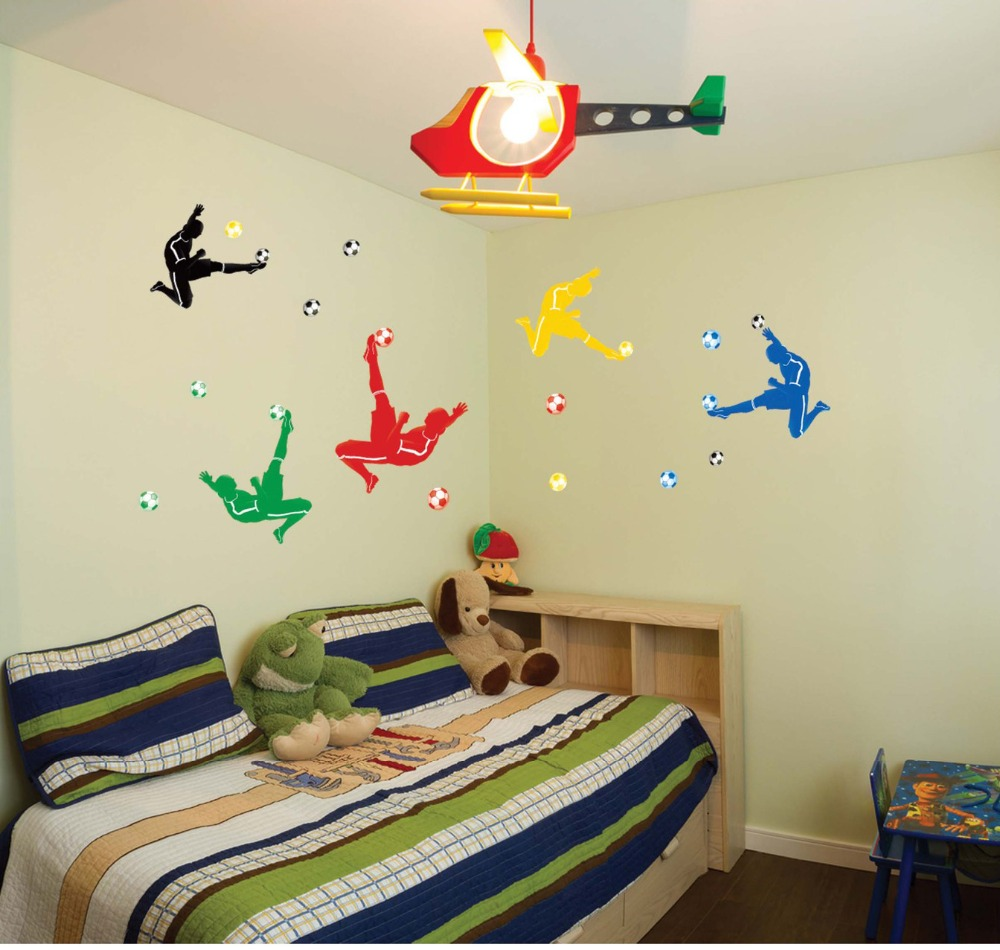 Creative Football Player And Football Wall Stickers Beautiful Girl With  Birds Birdcage Wall Mural Sweet Home Part 81