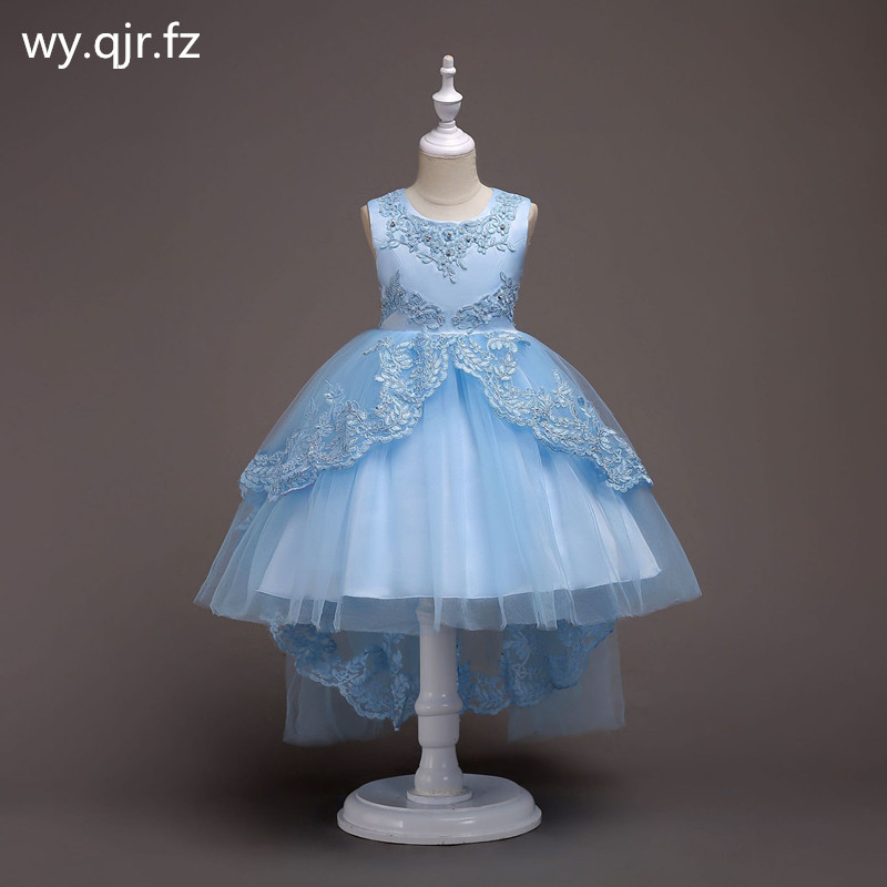 BH584#Bow Lace Short Sky blue   Flower     Girl     Dresses   Children's fish tail   dress   wedding party   dress   gown prom wholesale clothes