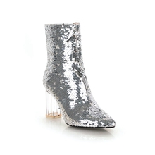b3bd66bbd6 Buy silver glitter boots and get free shipping on AliExpress.com