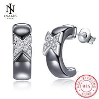 INALIS 925 Sterling Silver Ceramics Stud Earrings For Women Girls Fashion Jewelry Zircon Butterfly Romantic Birthday