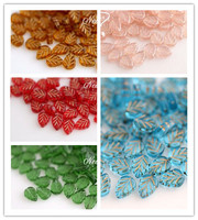 8 10MM 50Pcs Pack Mixed Colors Leaf Czech Glaze Glass Crystal Bead Jewelry Loose Beads