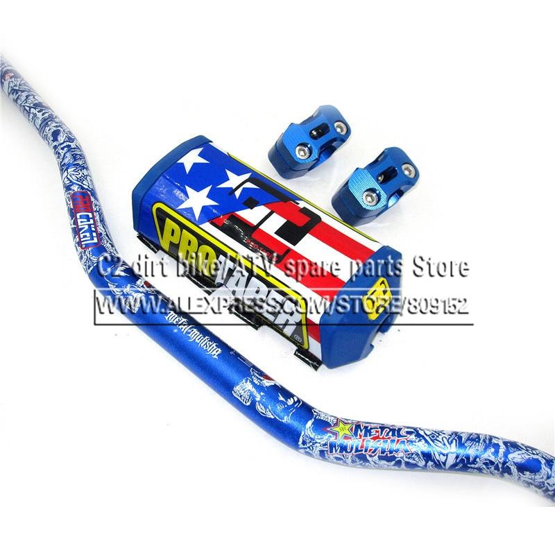 NEW Pro Taper Pads with Fat Bar 1-1/8 Metal Mulisha Pack Pit Bike MotorCross Fat Bar MX Racing Handlebar FREESHIPPING Blue