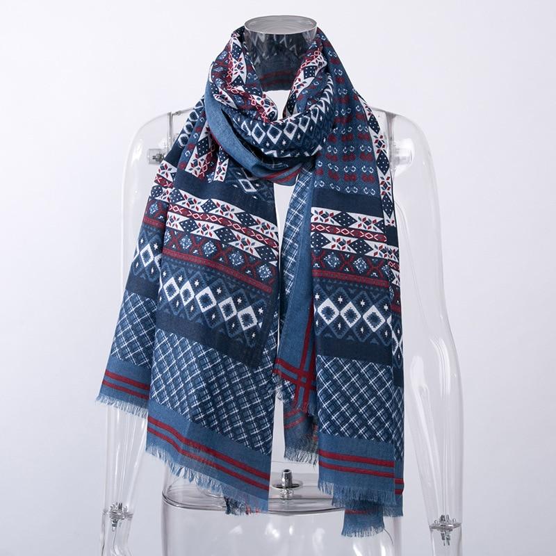 182CM*87CM Cashmere Blanket Scarf For Women Luxury Brand Warm Winter Shawls And Wraps Boho Ladies Plaid Scarves Foulard Femme
