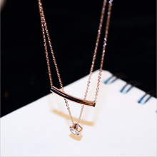2017 Golden Plated Love Necklace Double Layers Long Zircon Crystal Heart Necklace Short Clavicle Chain Necklace Women Jewelry цена 2017