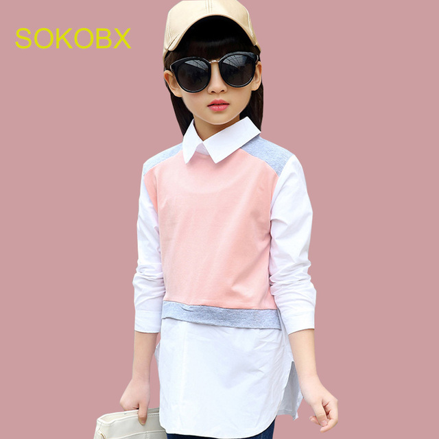ec00ccffe29 Teenage Girls Blouses Cotton Tops Shirts For Girls Dress Spring Kids Blouse  For Girls Clothes Autumn Kids Tops 6 8 10 12 14 Y
