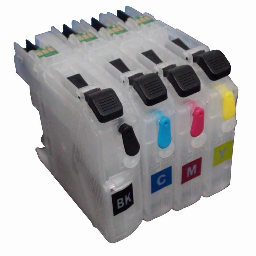 Refillable Ink Cartridges Kit For Brother MFC-J2510 J3520 LC583 LC585 LC587 1set 4pcs ink