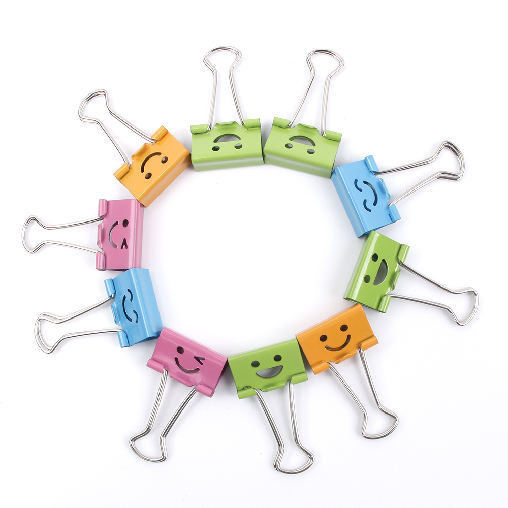 10PCS Useful Smile Binder Clips For Home Office Books File Paper Organizer Clip Food Bag Clips Note Clips 19 mm wide   free shipping factory supply 10pcs 50x20mm large size paper clips 7 colors available large wide paper clips on promotion