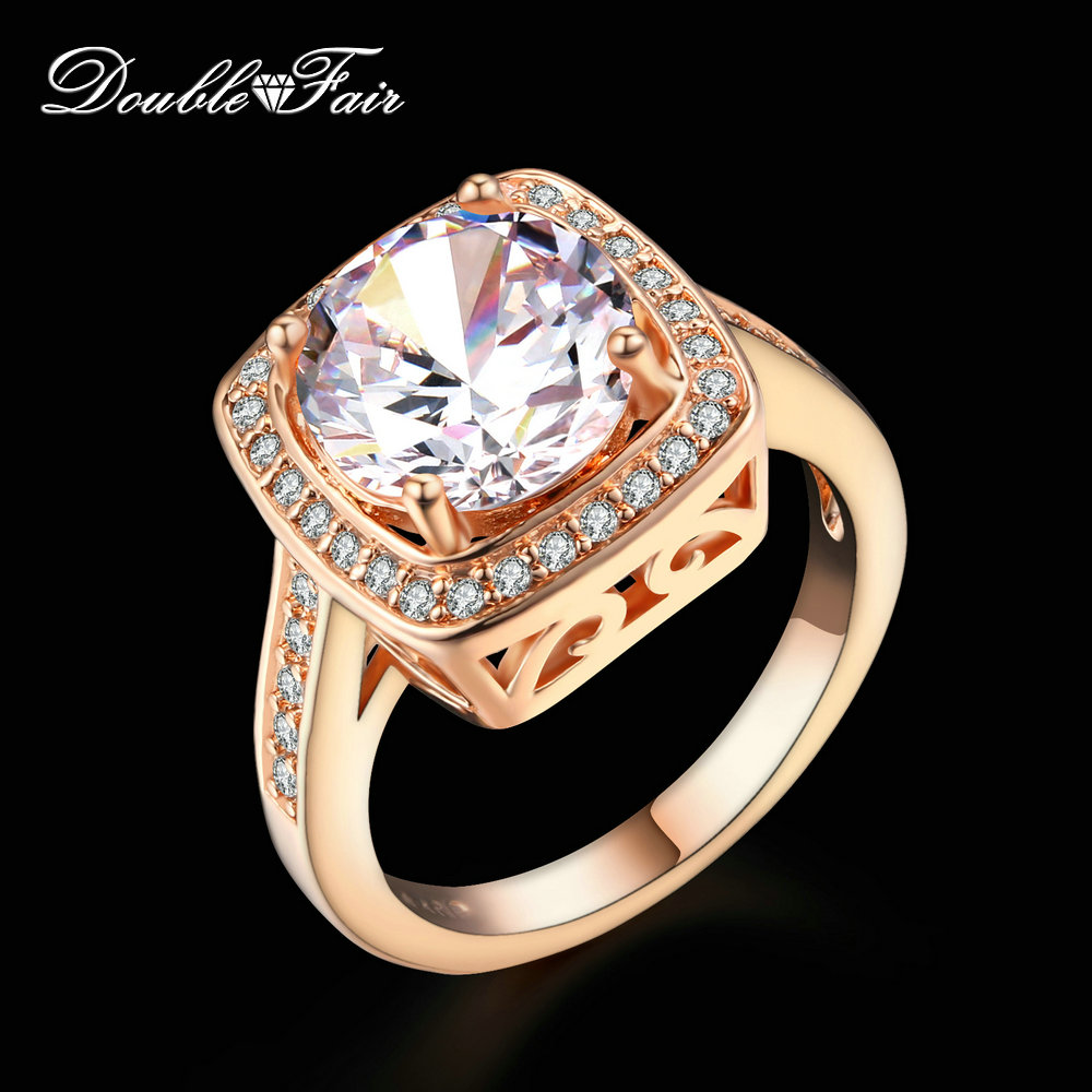 Wedding Rings Rose Gold  Plated Fashion Ring Retro Jewelry For Women Anel Dfr111