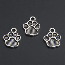 50pcs Antique Silver Metal Dog Paw Print Footprint Charms Pendant For Necklace Bracelet Jewelry Making Findings DIY Craft A2767(China)