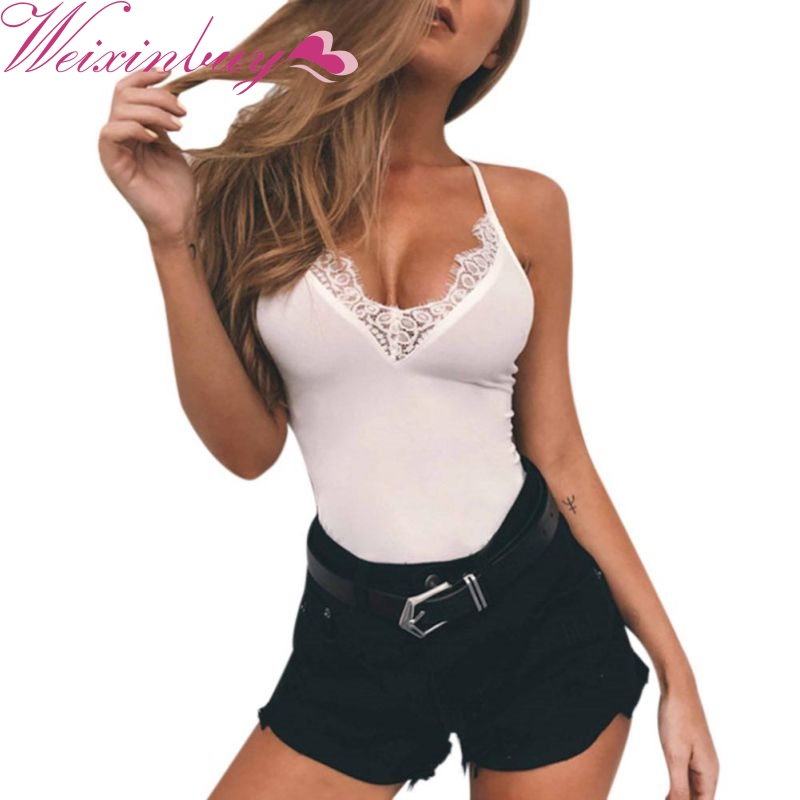 WEIXINBUY Sexy Women Lace V-Neck Tank Tops Hot Female Small Lace Stitching Vest Solid Hollow Mesh Slim Tanks Casual Tops