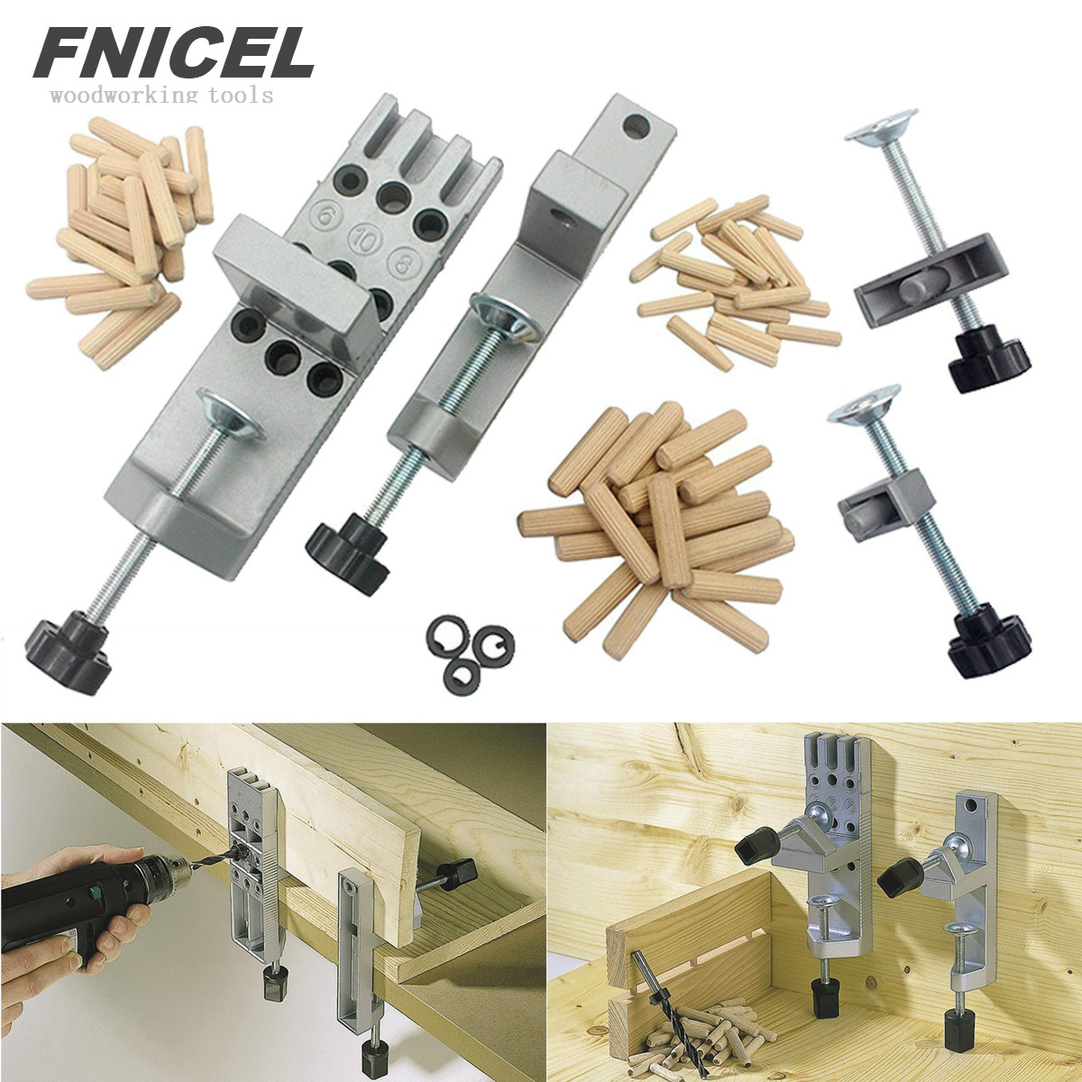 1 Set Dowelling Jig Woodworking Joinery Carpenters Wood Dowel Joints Dowelling Jig Tool Set Drilling Locator Drilling Guide Kit