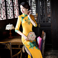 Fikoo Sexy Yellow Traditional Chinese Clothing Cheongsams Female Satin Novelty Costume Socialite Elegant Long Cheongsam Qipao